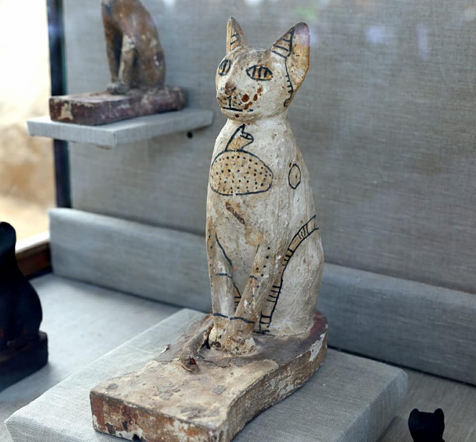 Wooden statue of a cat found at Saqqara.