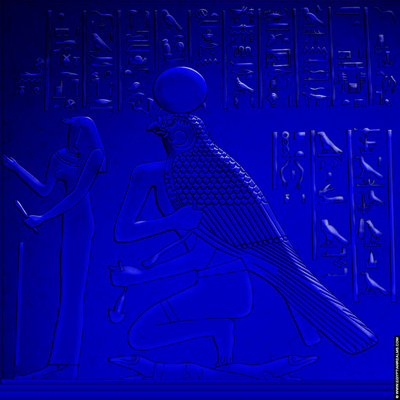 Reconstruction from a relief of Horus from the temple of Dendera.