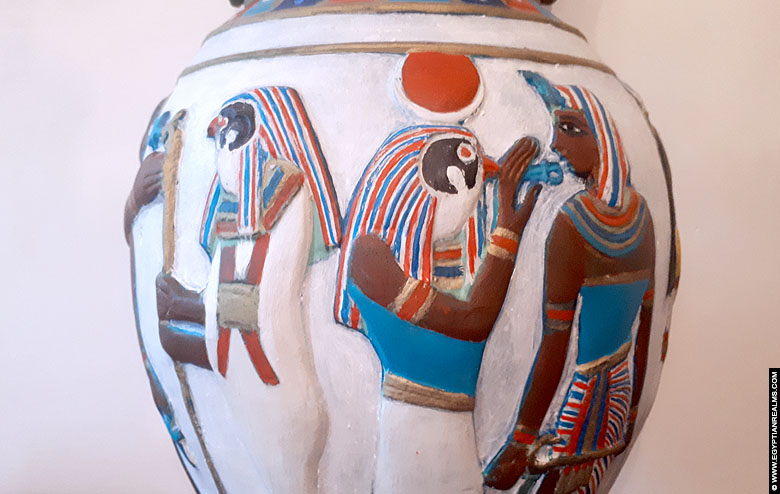 Decorative Egyptian vase with bas-relief