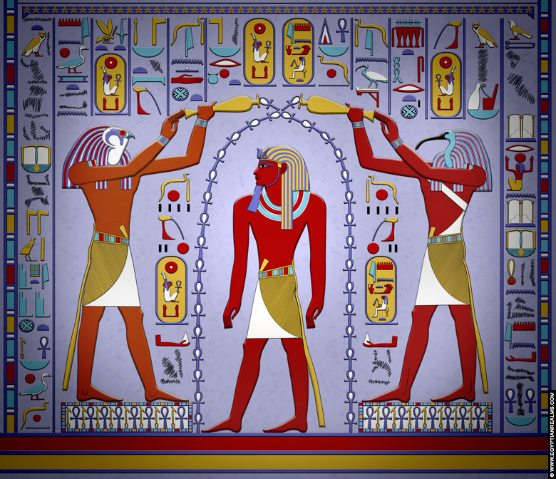 Relief of Horus, Hatchepsut and Thoth from the temple of Amun at Karnak