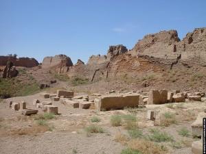 Restanten van de grote tempelmuur
