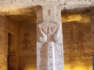 Pilaar voorzien van de godin Hathor