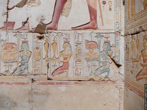 Oorspronkelijke kleuren op de tempelmuren